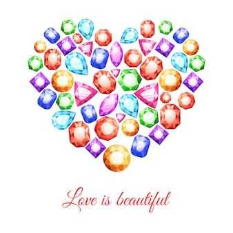 Colorful gemstones in heart shape with love is beautiful lettering