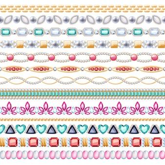 Набор бесшовные горизонтальные границы красочные драгоценные камни. этнический индийский стиль. браслет-цепочка, колье, бижутерия.