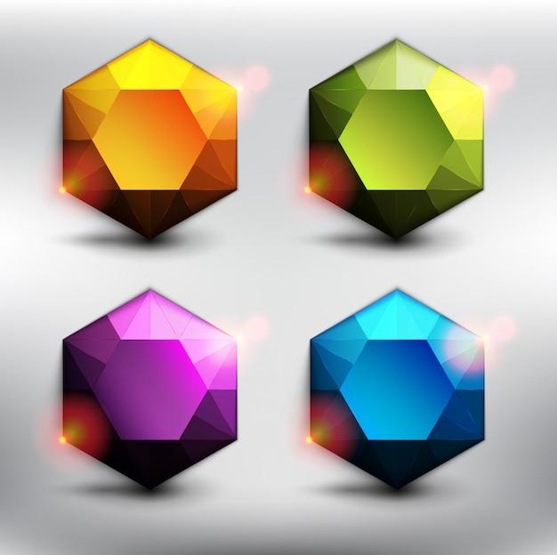 カラフルな宝石6個セット。6つの異なる色の低ポリスタイルダイヤモンド。白い背景で隔離されました。