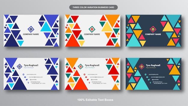 Colorful geometric abstract business card bundle
