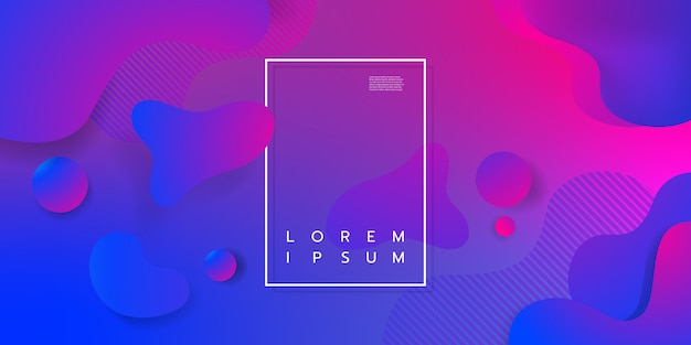 Colorful geometric background design. fluid shapes composition with trendy gradients.