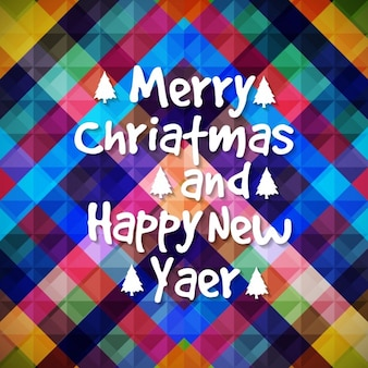 Colorful geometric background of merry christmas and new year