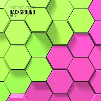 明るいモザイクスタイルで緑とピンクの六角形のカラフルな幾何学的な背景