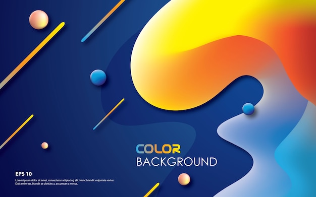 Colorful geometric background with trendy fluid composition