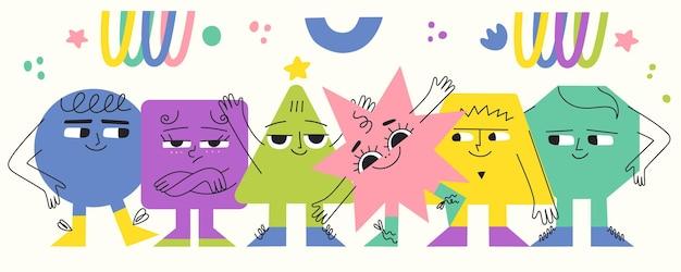 다른 감정을 가진 다채로운 기하학적 기본 모양 재미있는 캐릭터 현대 다양한 인물