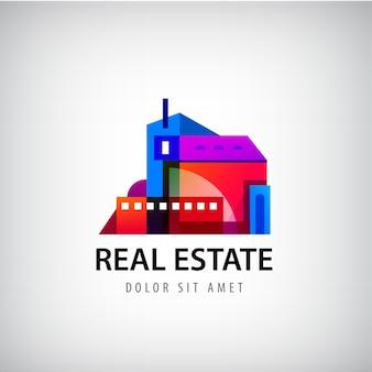 다채로운 기하학적 건물 로고. 부동산