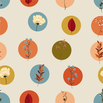 Colorful geometric circle with botanical and wild floral retro style seamless pattern