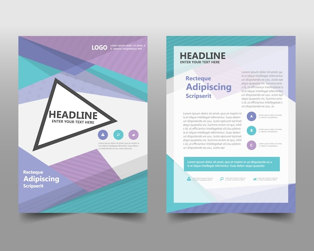 Colorful geometric corporate book cover concept