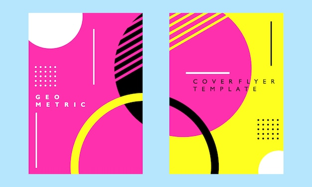다채로운 기하학적 표지 포스터 전단지