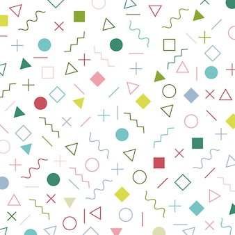 Colorful geometric elements memphis style pattern