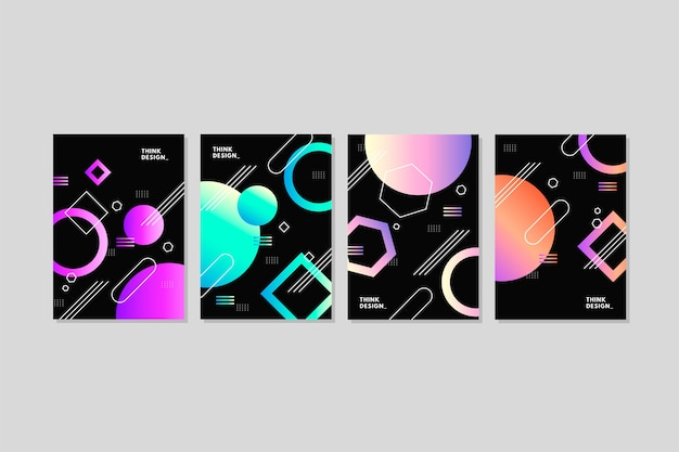 Colorful geometric gradient shapes covers on dark background
