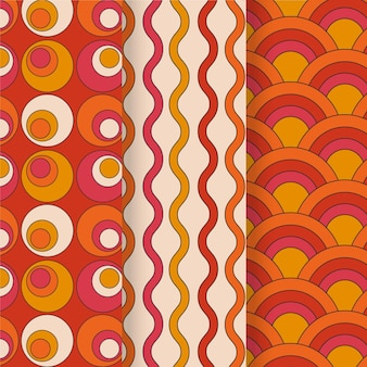 Colorful geometric groovy pattern collection