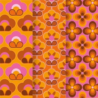 カラフルな幾何学的なグルーヴィーなパターンコレクション
