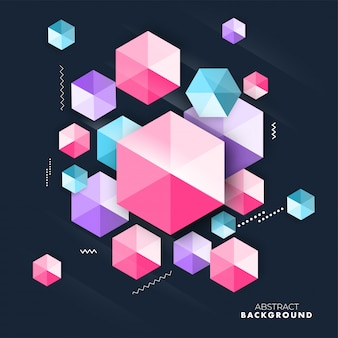 Colorful geometric hexagonal or diamond crystal element on background