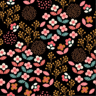 Colorful Geometric liberty floral  seamless pattern