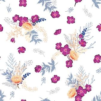 カラフルな幾何学的な自由の花のシームレスなパターン