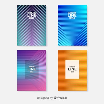 Colorful geometric lines cover collection