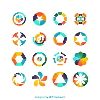 Colorful geometric logos Premium Vector