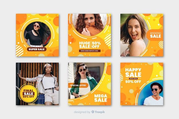 Colorful geometric memphis instagram post template