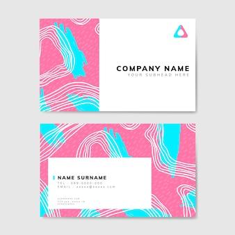 Красочная геометрическая визитная карточка в стиле мемфиса