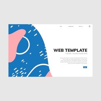 Colorful geometric memphis style web template