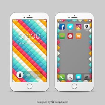 Красочные геометрические мобильные обои