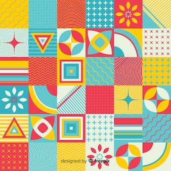 Colorful geometric mosaic tile background