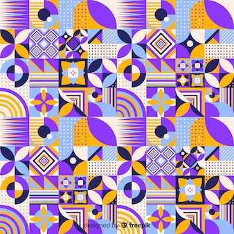 Colorful geometric mosaic tile backround