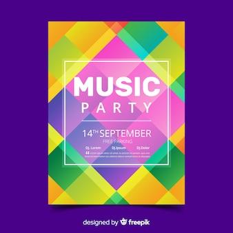 다채로운 기하학적 음악 포스터 템플릿
