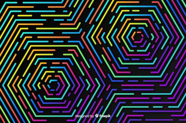 Colorful geometric neon shapes background