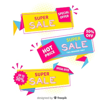 Colorful geometric sales banner pack