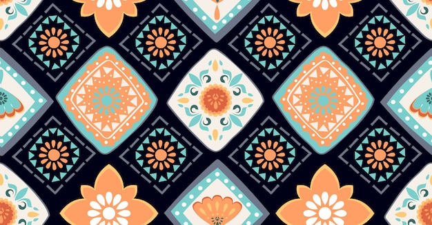 Colorful geometric seamless pattern in african style