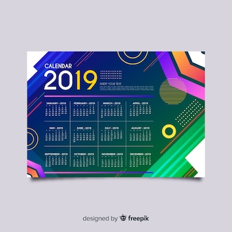Colorful geometric shapes calendar template