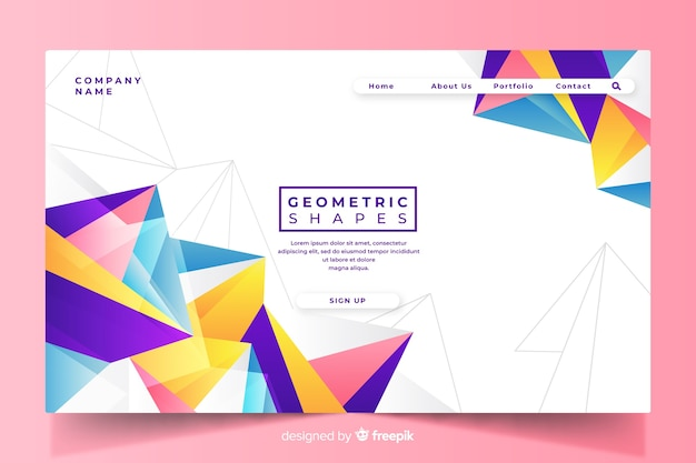 Colorful geometric shapes landing page template