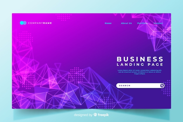 Colorful geometric shapes landing page with gradient