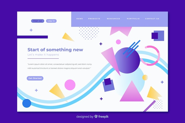 Colorful geometric shapes mixture landing page