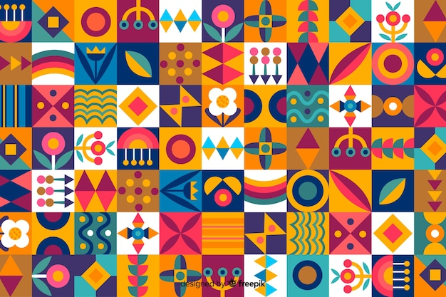 Colorful geometric shapes mosaic background