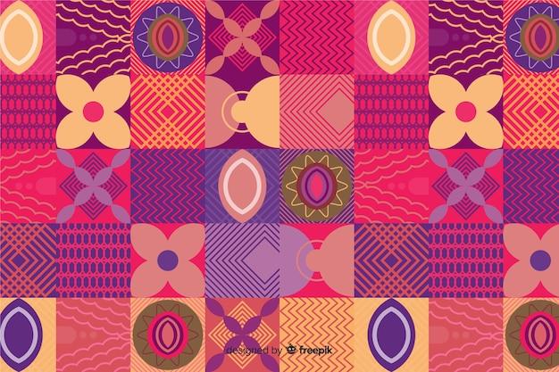 Colorful geometric shapes mosaic background
