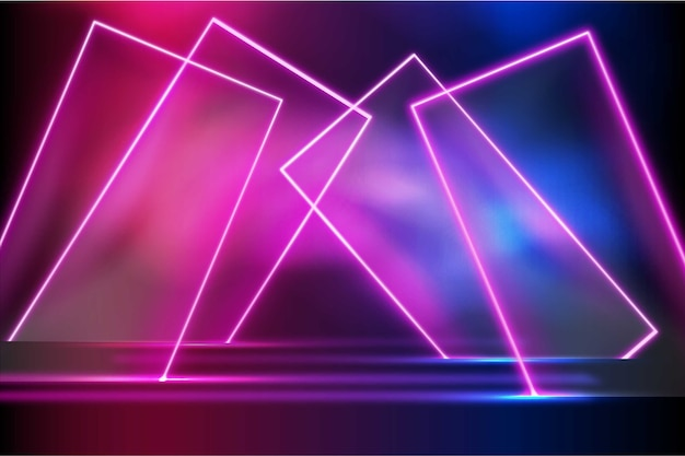 Colorful geometric shapes neon lights background
