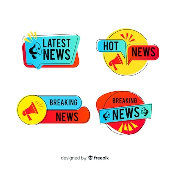Colorful geometric shapes news banner set