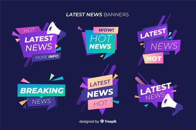 Colorful geometric shapes news banner set