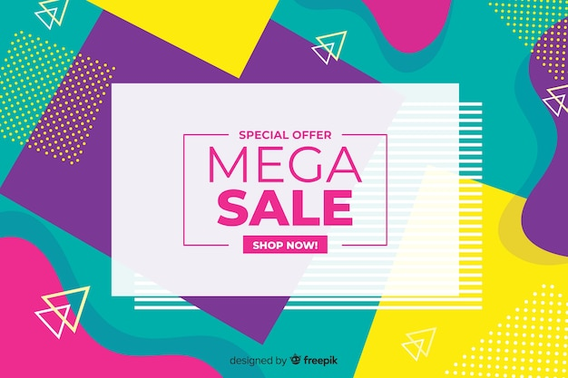 Colorful geometric shapes sales background