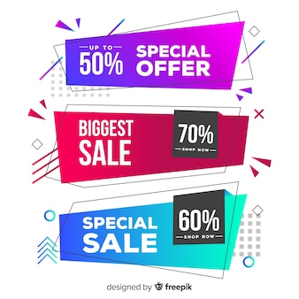 Colorful geometric shapes sales banner