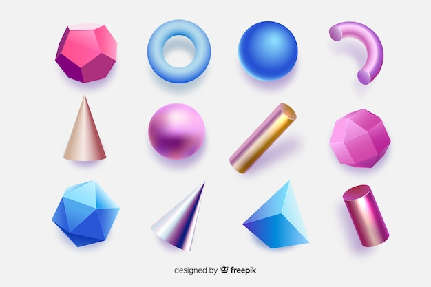 Colorful geometric shapes with 3d effect