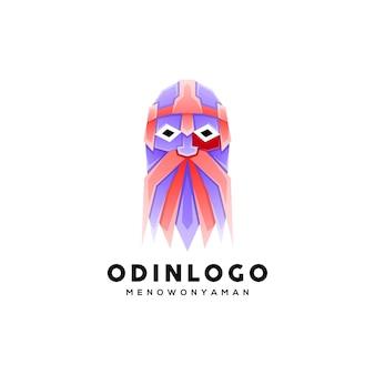 Colorful geometric style odin legend illustration