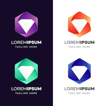 Colorful geometric with diamond icon logo design template