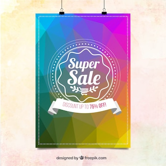 Colorful geometrical sale poster