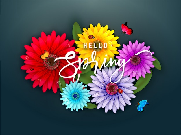 Colorful gerbera daisy flowers illustration