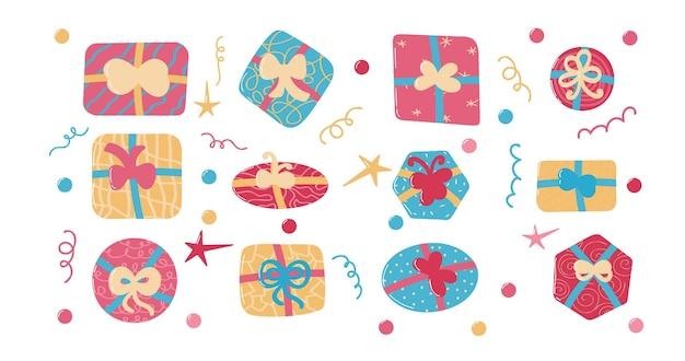 크리스마스 새해 또는 생일 이벤트를 위한 다채로운 선물 및 선물 상자 세트 위 보기