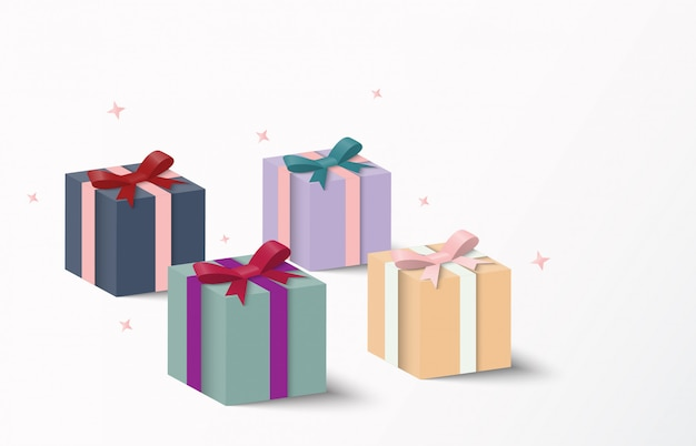 Colorful gift box packaging and shadow, vector illustration.